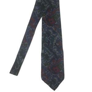 Vintage J GARCIA Blue Abstract Silk Tie